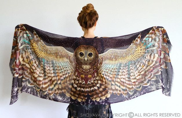 "Earthy colors at DaWanda This unique bohemian wings and bird feathers shawl scarf features:  - Hand-painted and then digitally printed Art of a Night Owl - ""Silent Flight"" this is a highly detailed representation of a..."
