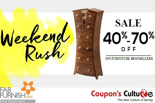 ‪#‎Fabfurnish‬ ‪#‎Coupons‬ ‪#‎Weekend‬ Rush : 40% - 70% Off on Bestsellers ‪#‎Furniture‬. ‪#‎Shop‬ Now