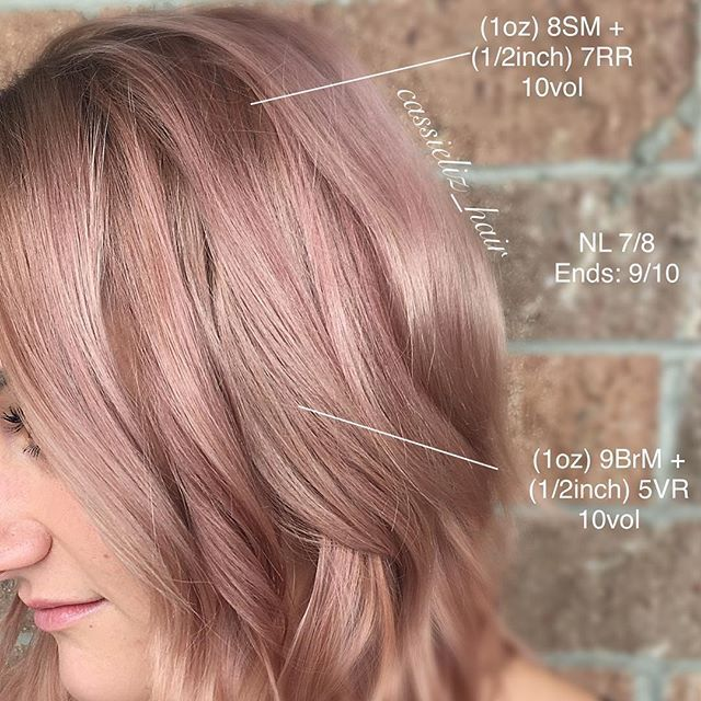 """Here's the formulation and placement for my latest Rose Gold  . Applied on a NL 7/8. .Ends were already a 9/10. . We wanted a """"Mauve"""" shadow root to transition into a blush rose. . #kenracolor #kenra #kenraprofessional #rosegold #rosegoldhair #mauvehair #mauve #blushpink #hairgoals #hairbrained #shadowroot #mermaidhair"""