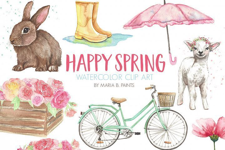 Spring Easter Watercolor Clip Art Set Clip Art Graphic