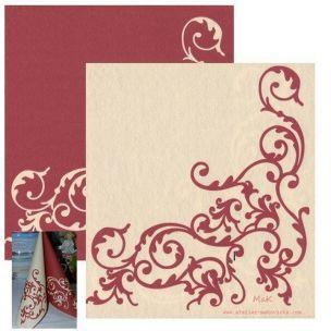 POMP bordo/creme  - luxusné svadobné servítky z netkanej textílie, ornament, bordová, krémová rozmer 40x40