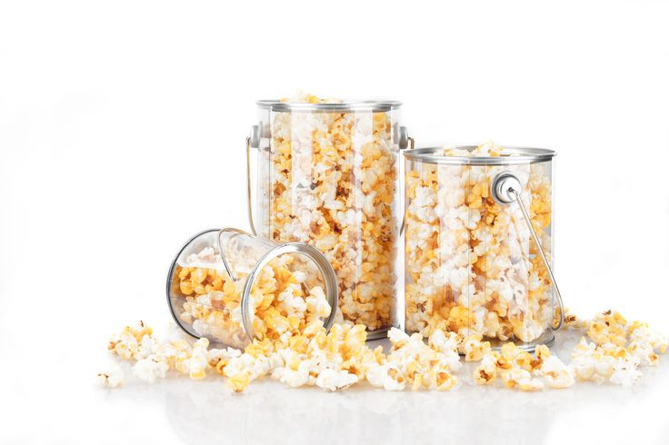 Check out one of most popular items: The Clear Plastic Art Can! This container is great for holding candy and snacks like popcorn!  http://www.thecarystore.com/containers-products/packaging-and-containers-plastic-containers-plastic-paint-cans-clear-plastic-art-cans