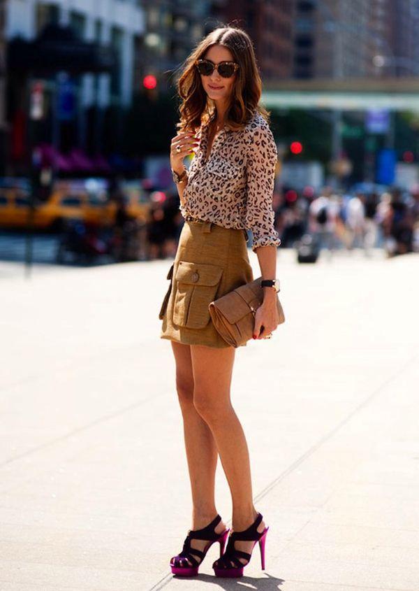 oliva palermo- street style - purple high heeled sandals- short khaki skrit - leopard print blouse shirt- tortoise shell sunglasses