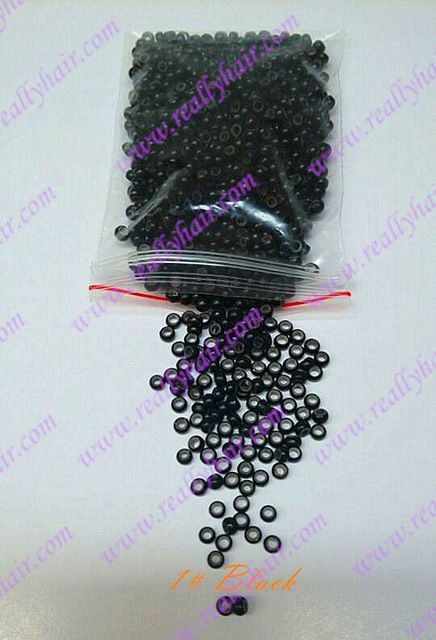 1000pcs black silicone micro nano bead with silicone line for Nano Hair Extensions tool kit 7 Colors Optional