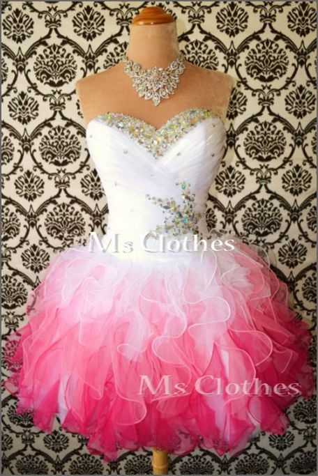 Custom Made Ball Gown White/Pink Short Prom Dresses, Bridesmaid Dresses, Strapless Prom Dresses 2014, Dress For Prom on Etsy, $158.99