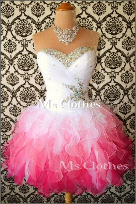 Custom Made Ball Gown White/Pink Short Prom Dresses, Bridesmaid Dresses, Strapless Prom Dresses 2014, Dress For Prom on Etsy, $158.99