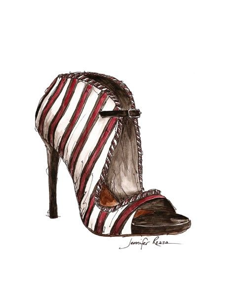ORIGINAL Tabitha Simmons Shoe Watercolor Fashion Sketch. $50.00, via Etsy.
