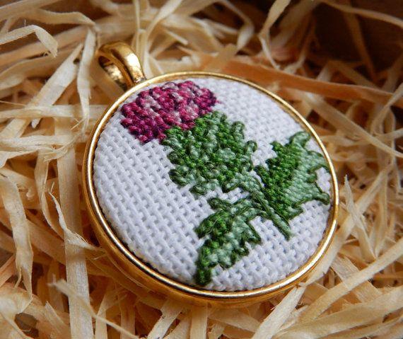 Crossstitch Pendant Thistle handmade necklace от Microstitch