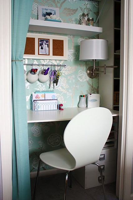 This is a pretty, tucked away space just for you. Just because a space is small doesn't mean it can't be beautiful. Go for one luxurious stretch of wallpaper to add great design. Office space in a closet...genius!!