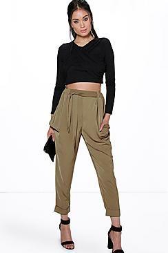 Alani Turn Up Tie Waist Cargo Trousers