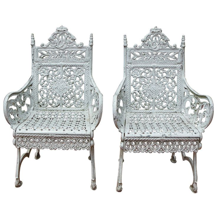 Pair of 19th Century Cast Iron Chairs by Peter Timmes, NY   From a unique collection of antique and modern garden furniture at https://www.1stdibs.com/furniture/building-garden/garden-furniture/