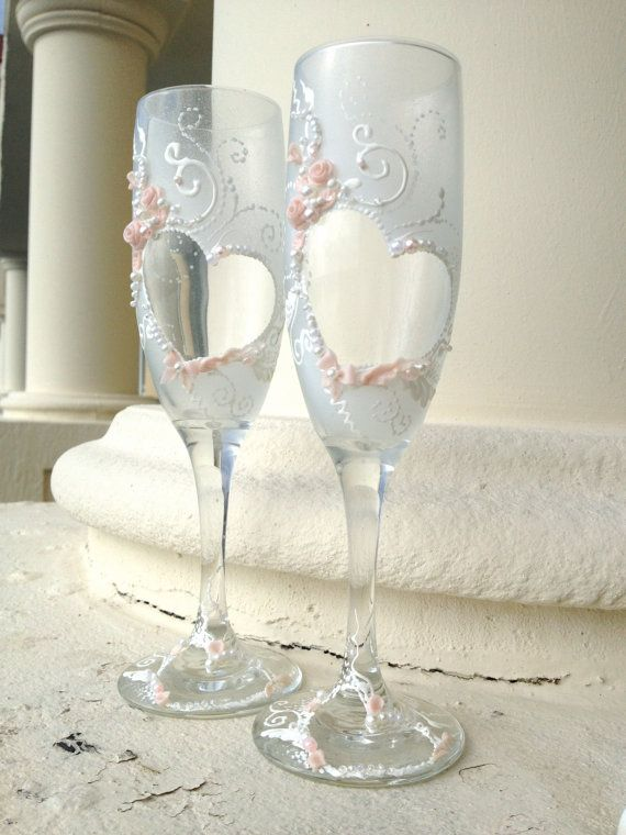 Hand painted wedding champagne glasses heartshape by PureBeautyArt