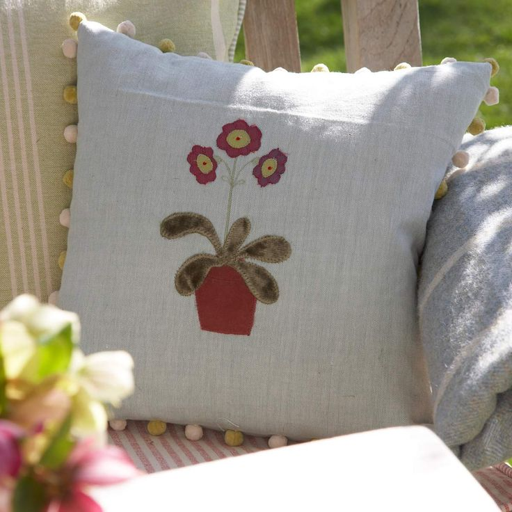 Flower Cushion - Duck Egg/Auricula in Pot | Susie Watson Designs