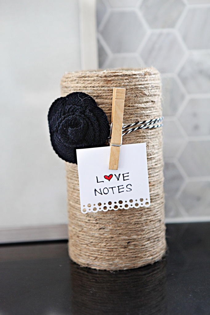 """Katie Bower calls it a """"Love Bucket"""" for V-Day, but this is a great way to finish off any plastic container for crafting goodies"""