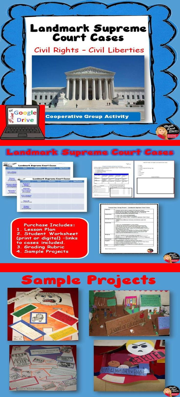 Your students will love this creative group activity that will help them understand the important court cases related to Civil Liberties and Civil Right. Groups are assigned one out of 9 important landmark court cases and will create a project demonstrating their comprehension of the case. Pin it now!