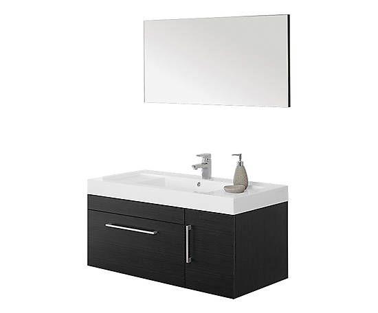 Mobile da bagno con specchio in legno grigio - 100x48x50 cm
