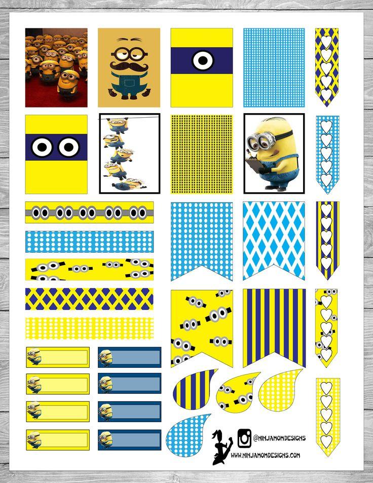 Free Printable Minions Planner Stickers at ninjamomdesigns.com