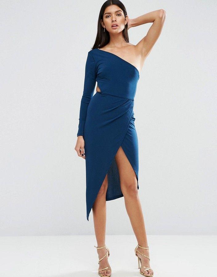 4df28fbffb9e ASOS One Shoulder Long Sleeve Thigh Split Maxi Dress | Asos One Shoulder  Crepe Wrap Midi