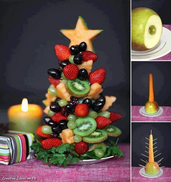 Edible Christmas Treat~  Apple + carrot + toothpicks + fruit = beautiful and delicious!  (picture only)