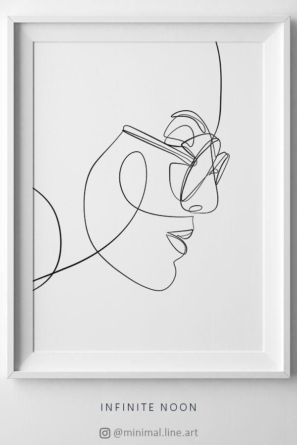 Woman With Glasses Print Fashion Eyewear Art Female Face Line