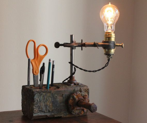 Vintage And Industrial Lighting From Etsy: Industrial Desk Lamp, Steampunk Rustic Wood Desk Organizer