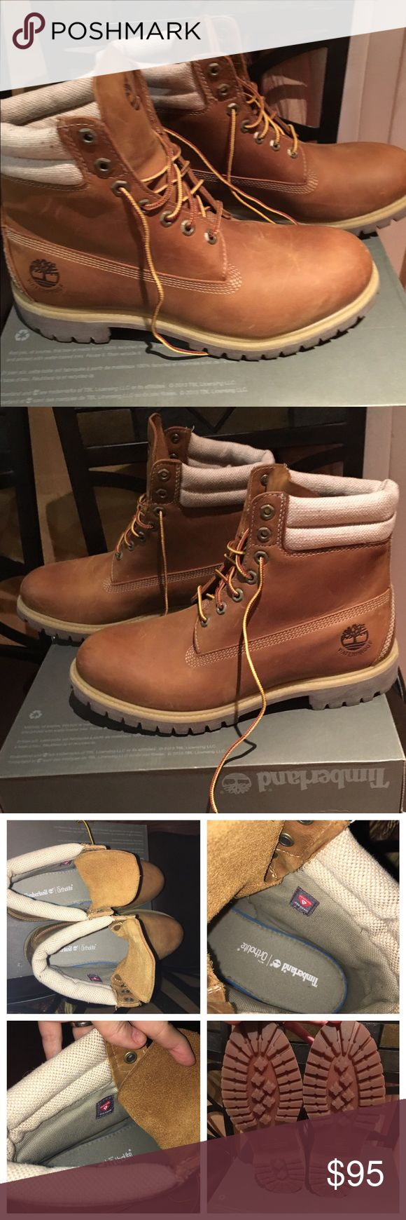 Timberland boots for men Timberland boots for men. Size 10.5. Gently worn some sign of wear please see pic. Item exactly as is in the pic. The top of the box is missing. Timberland Shoes Boots