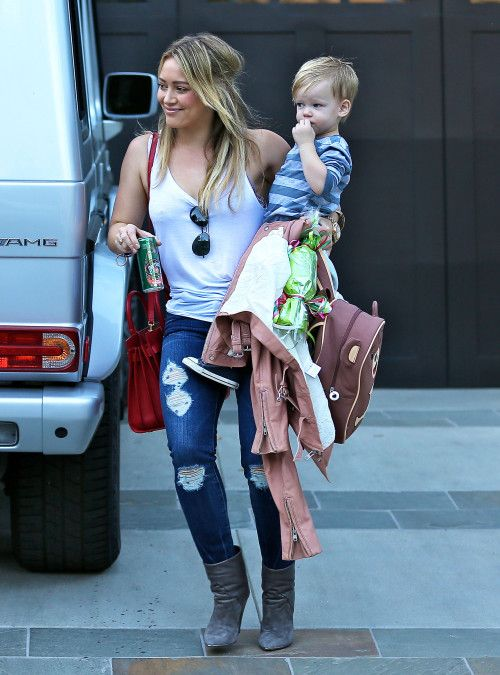 Hilary Duff & son Luca with the Cubby Toddler Backpack