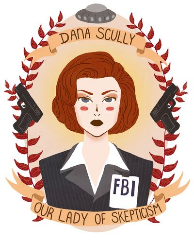 Dana Scully, Our Lady of Scepticism Patron Saint Art Print by Heymonster