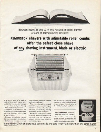 "1961 REMINGTON SHAVER vintage magazine advertisement ""adjustable roller combs"" ~ Between pages 86 and 93 of this national medical journal, a team of dermatologists revealed: Remington shavers with adjustable roller combs offer the safest close shave ..."