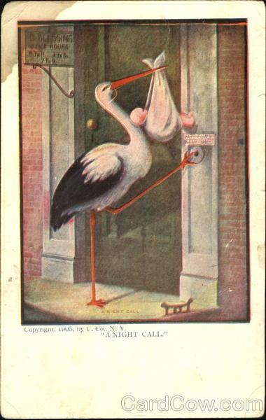 День, аист открытка несет