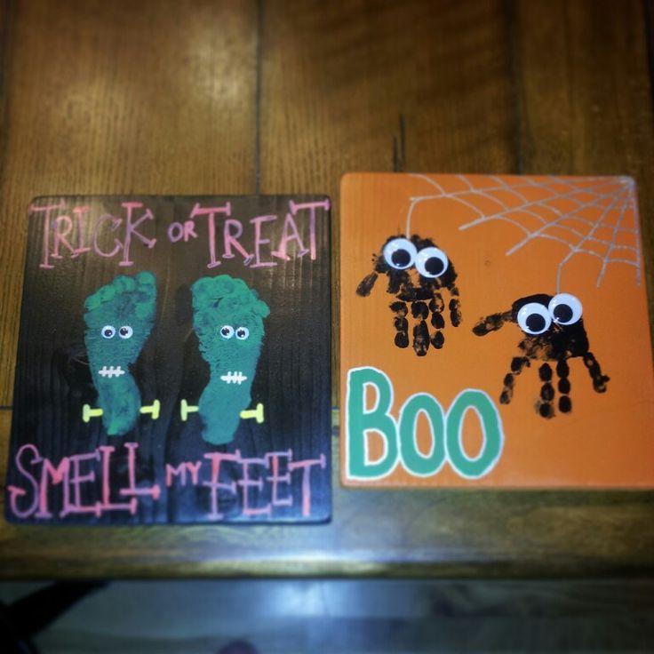 Footprint/handprint Halloween kid crafts
