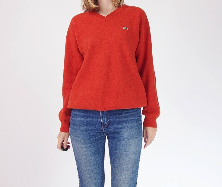 90s Lacoste neon orange wool sweater / size S-L by Only1Copy on Etsy