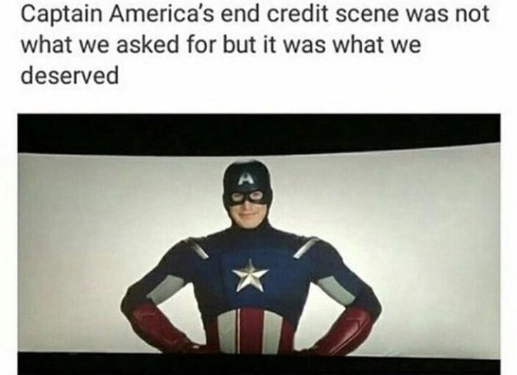 I was actually soo happy when this scene came on because it was captain America!!!!!! I flipping love captain america. This was my FAVOURITE end credits scene!!!