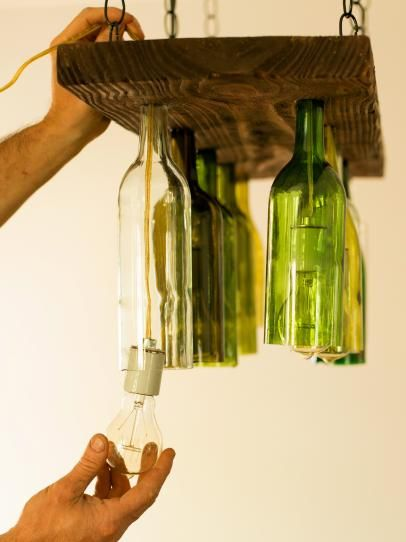 Use upcycled wine bottles to create inexpensive lighting for a wine cellar, kitchen, bar or dining room.