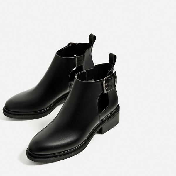 FLAT OPEN ANKLE BOOTS - NEW IN-WOMAN | ZARA United States ($50) ❤ liked on Polyvore featuring shoes, boots, ankle booties, short flat boots, ankle boots, flat bootie, bootie boots and flat booties