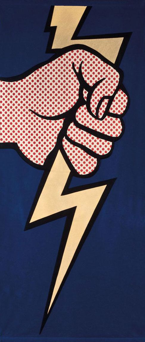 He seleccionado la imagen por la estética pop y por el rayo que podía aportar al logo. Thunderbolt By Roy Lichtenstein  Media Used: Oil and Magna on Canvas  Subject Matter: Person holding Thunderbolt   Dominant Elements: Shape and Texture   Dominant Principles: Contrast and Emphasis