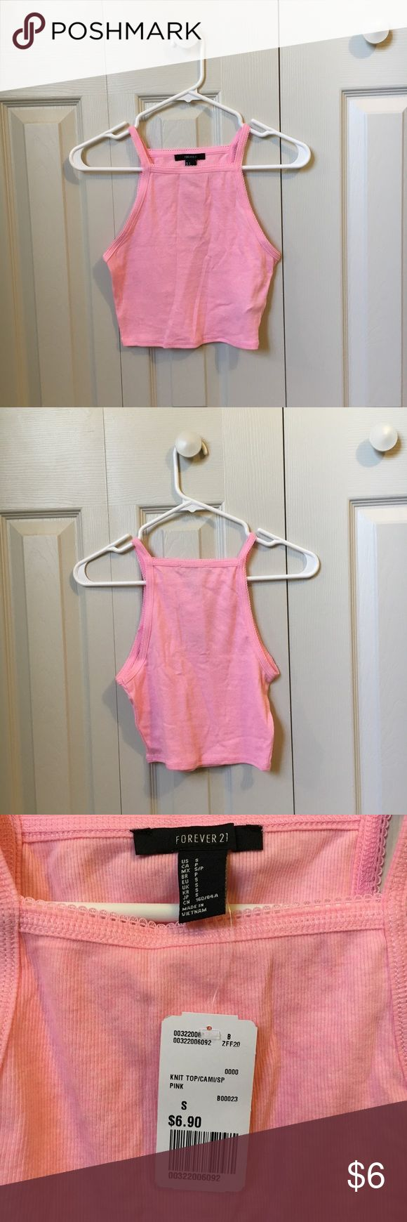 Pink Crop Top This blush pink crop top is perfect for the summer and paired with high waisted shorts! It's in amazing condition and has never been worn and still has the tags.  Message me if you plan on purchasing multiple things and would like combined shipping :) Forever 21 Tops Crop Tops