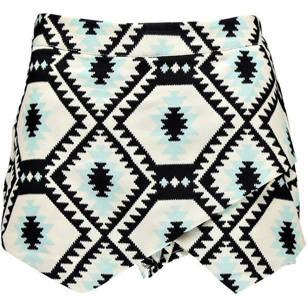 Boohoo Candy Aztec Print Woven Skort ($5) ❤ liked on Polyvore featuring skirts, mini skirts, shorts, bottoms, skorts, white skirt, woven skirt, white skort, aztec skirt and aztec mini skirt