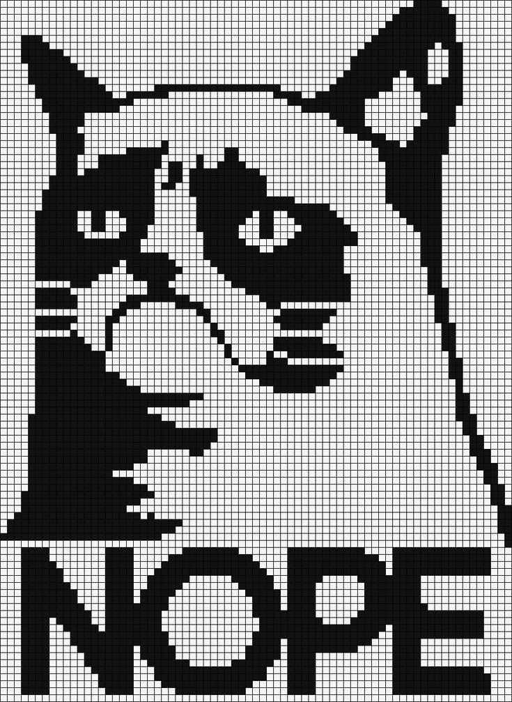 Free Cross Stitch Pattern - Grumpy Cat says NOPE.