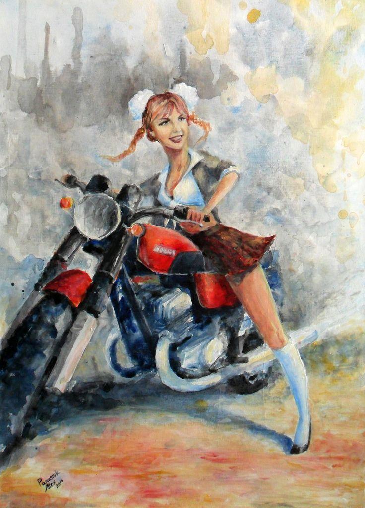 #watercolor, #girl,  #moto, #britni, #motorcycle, #jawa, #moto_art, #schoolgirl, #handpainting