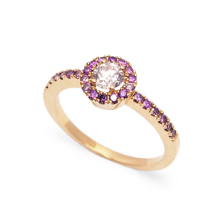 Természetes rózsaszín gyémántokkal foglalt rosegold eljegyzési gyűrű - Rosegold engagement ring set with natural pink diamonds