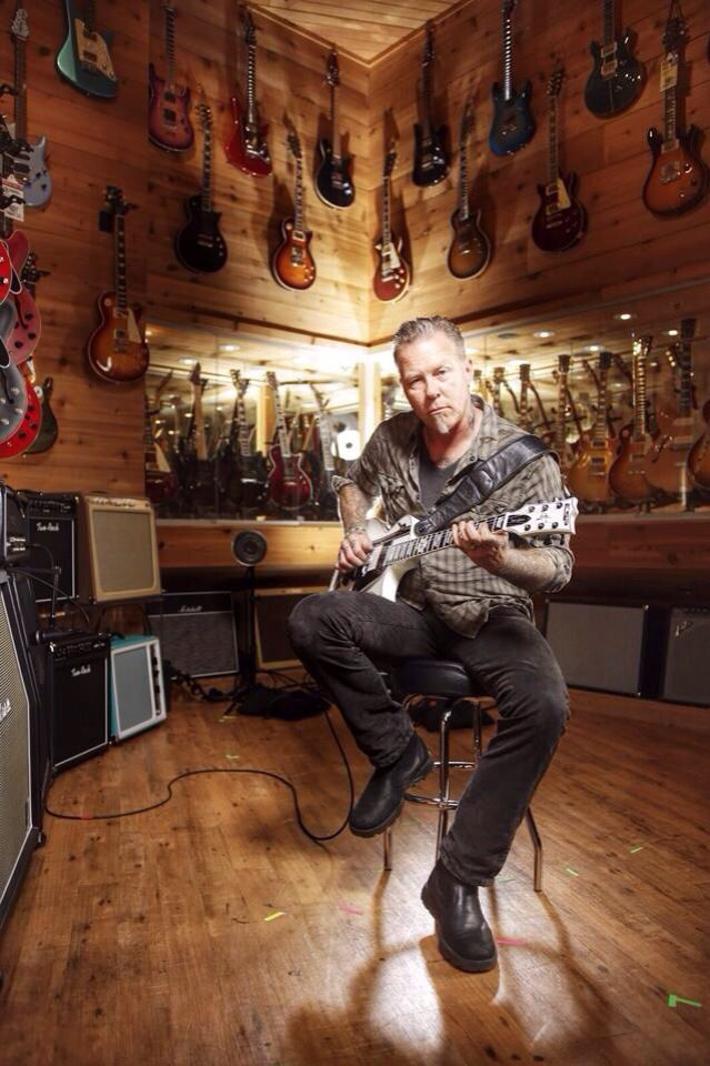 Gods among us - James Hetfield ...this is at the San Francisco Guitar Center.