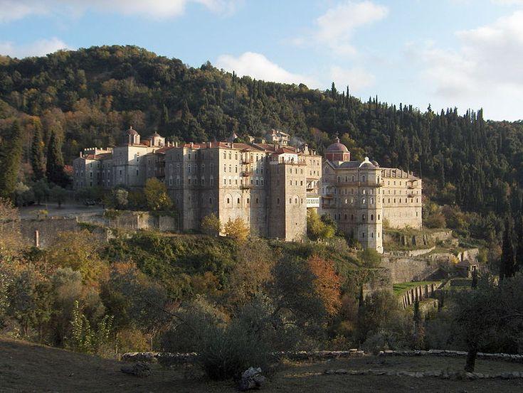 """Bulgarian monastery Saint George the Zograf, Mount Athos (the """"Holy Mountain""""), Greece."""