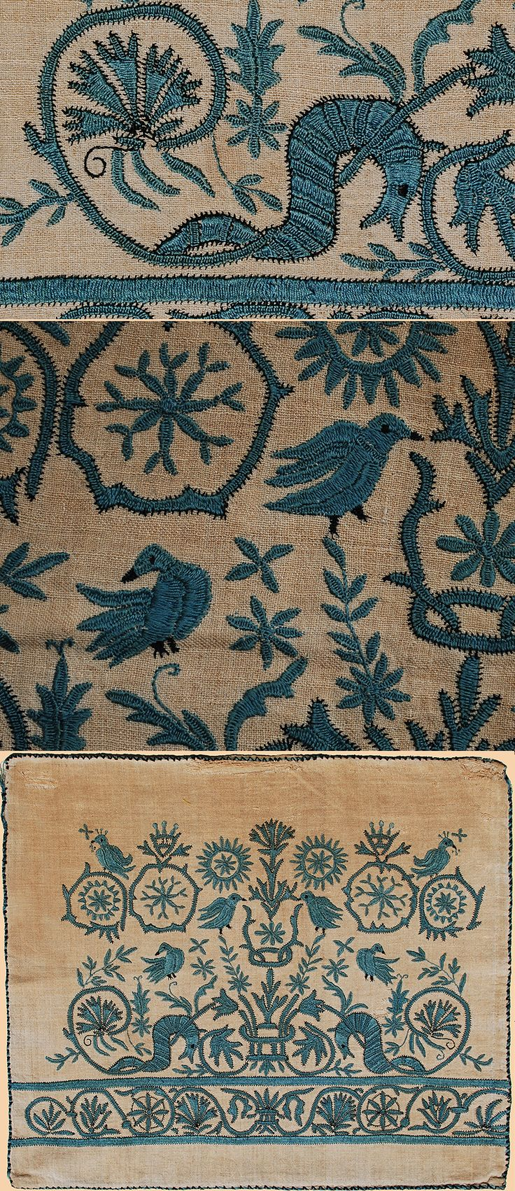 LATE 18th CENTURY GREEK SILK EMBROIDERY FROM SKYROS