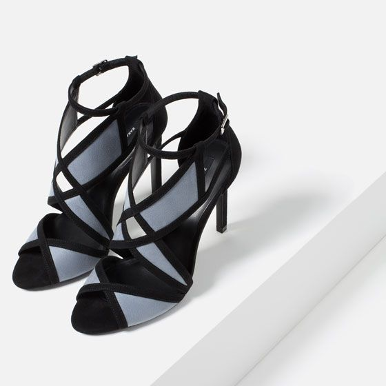 Image 5 of CONTRAST WRAPAROUND HIGH HEEL SANDALS from Zara