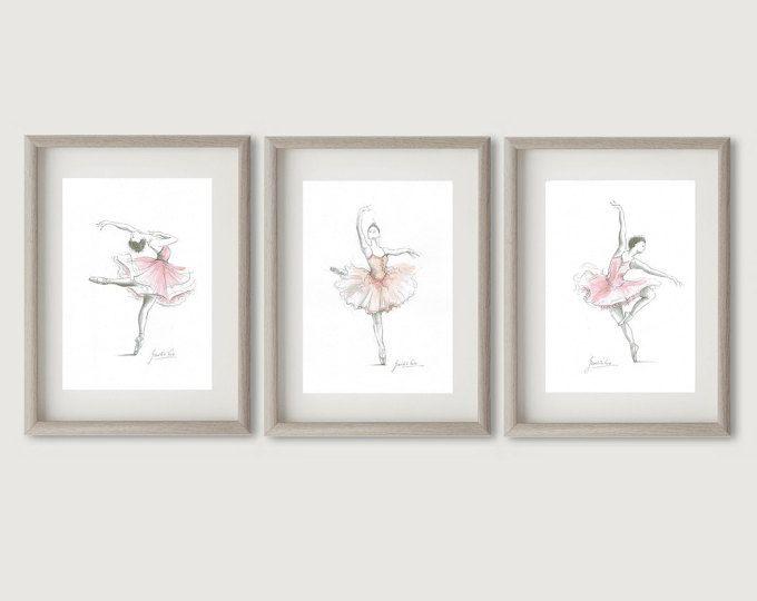 Set von 3 Ballerina, Ballerina Drucke, Ballerina, rosa