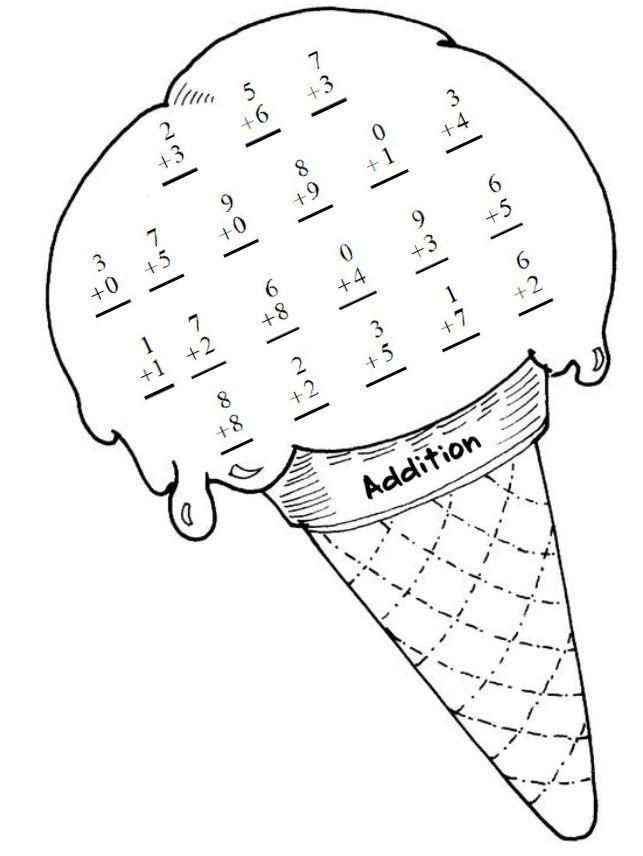 Ice Cream Addition Math Work Sheet Math Coloring Worksheets Math Coloring Math Work