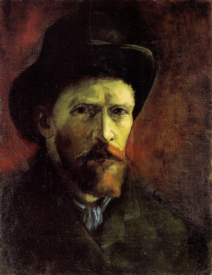 Self-Portrait with Dark Felt Hat, 1886  Vincent van Gogh: Hats, Vangogh, Vans, Self Portraits, Art, Felt Hat, 1886, Vincent Van Gogh, Dark Felt