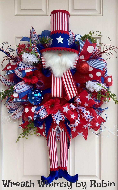 372 best Patriotic Wreaths images on Pinterest | July 4th, Burlap ...