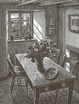 Howard Phipps, Cottage Interior, Cornwall, Wood engraving